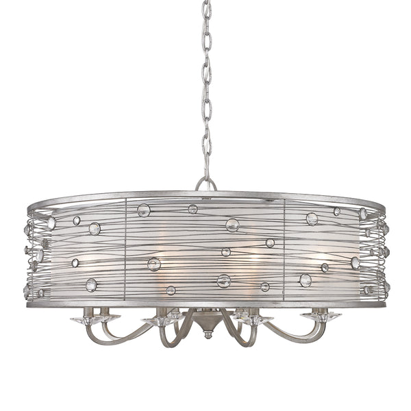 Joia 8 Light Chandelier in Peruvian Silver with Sterling Mist Shade