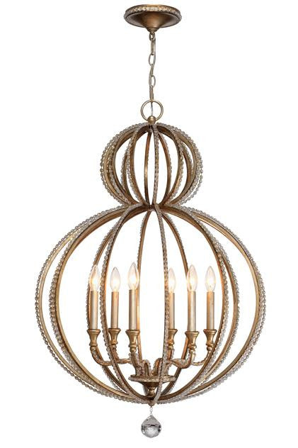 Gold Beaded Garland 6 Light Chandelier, Lighting, Laura of Pembroke