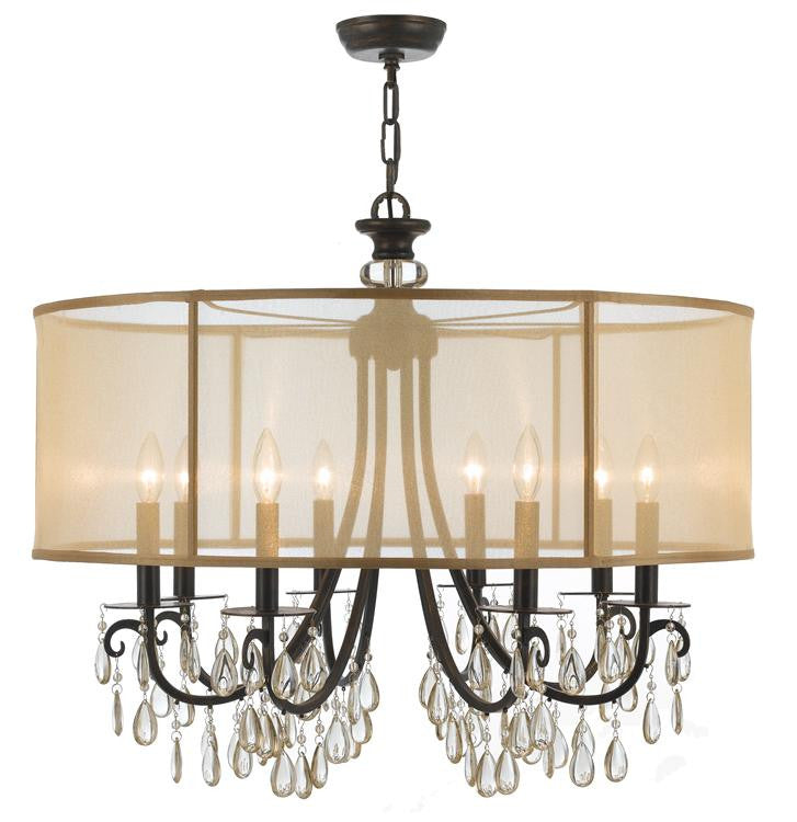 Bronze 8 Light Drum Shade Chandelier