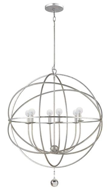 6 Light Silver Sphere Chandelier, Lighting, Laura of Pembroke