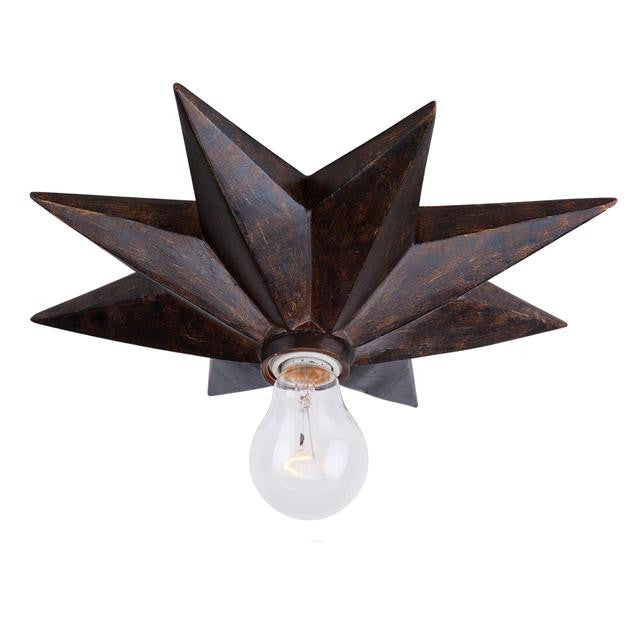 1 Light Bronze Star Flush Mount, Lighting, Laura of Pembroke
