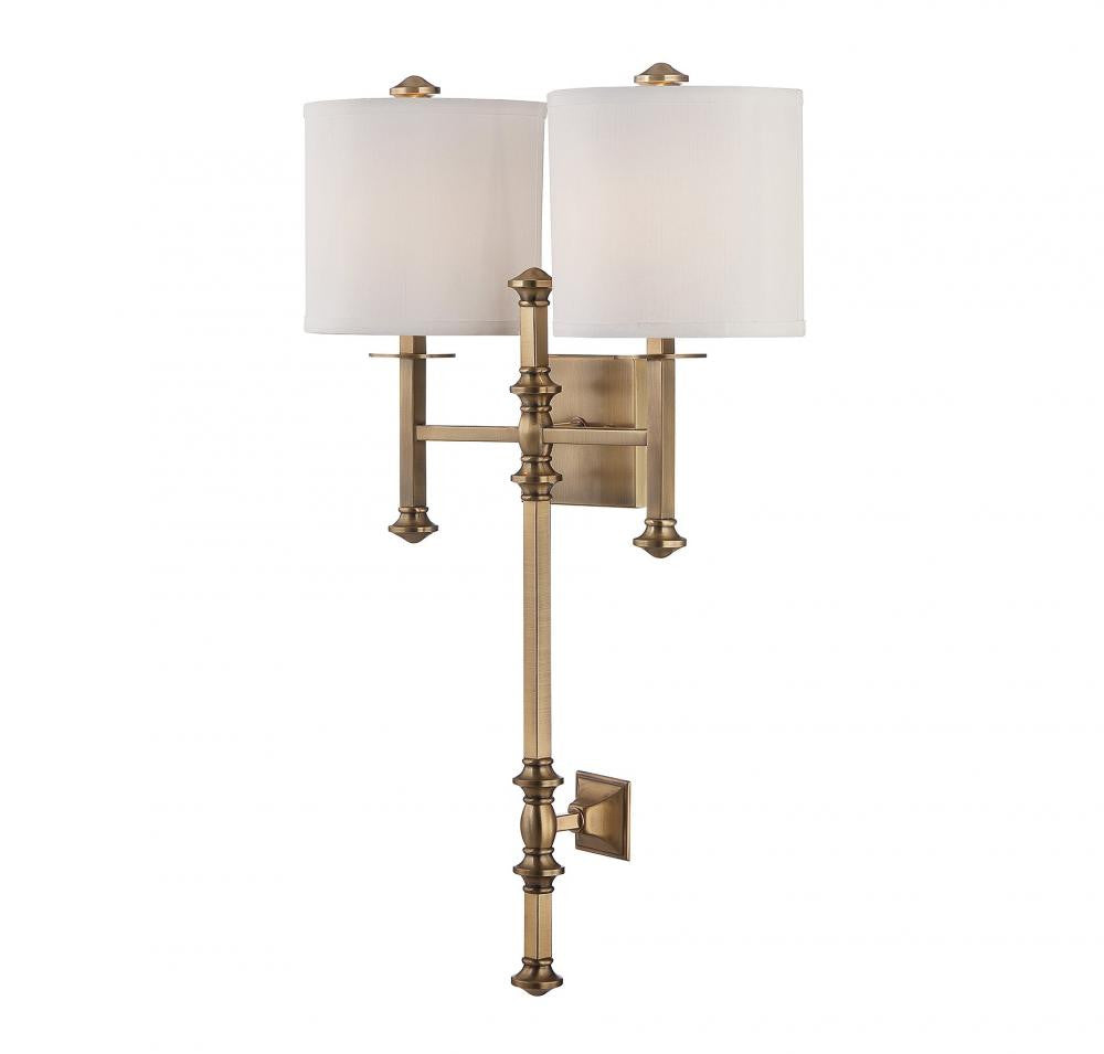 Warm Brass 2 Light Wall Sconce, Lighting, Laura of Pembroke