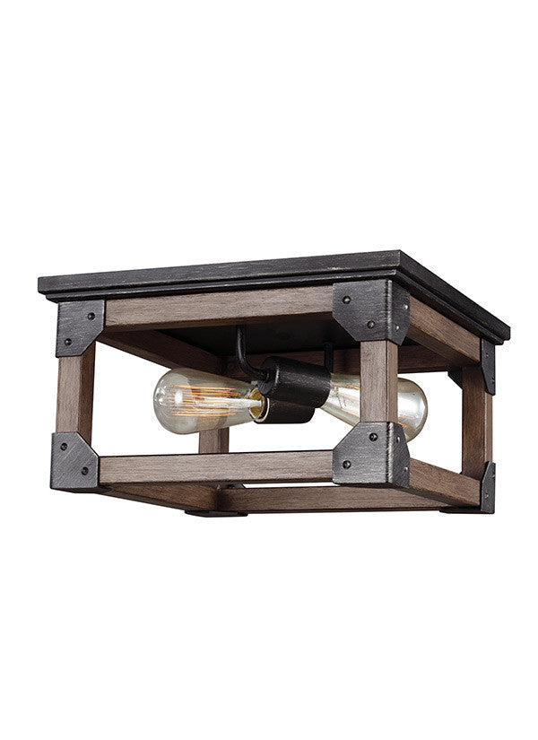 Rustic Wood 2 Light Ceiling Flush Mount, Lighting, Laura of Pembroke