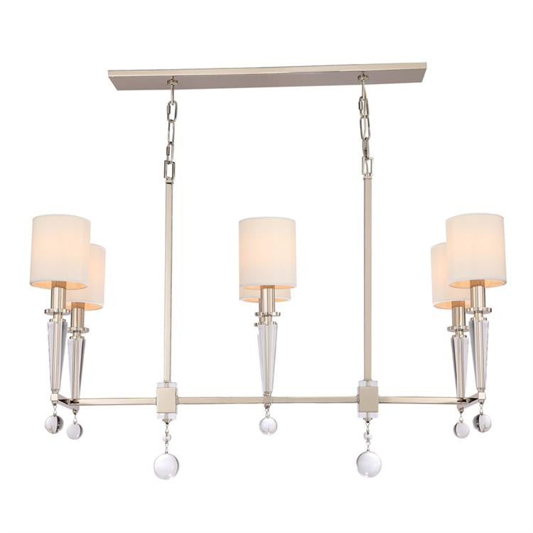 Nickel 6 Light Island Chandelier, Lighting, Laura of Pembroke