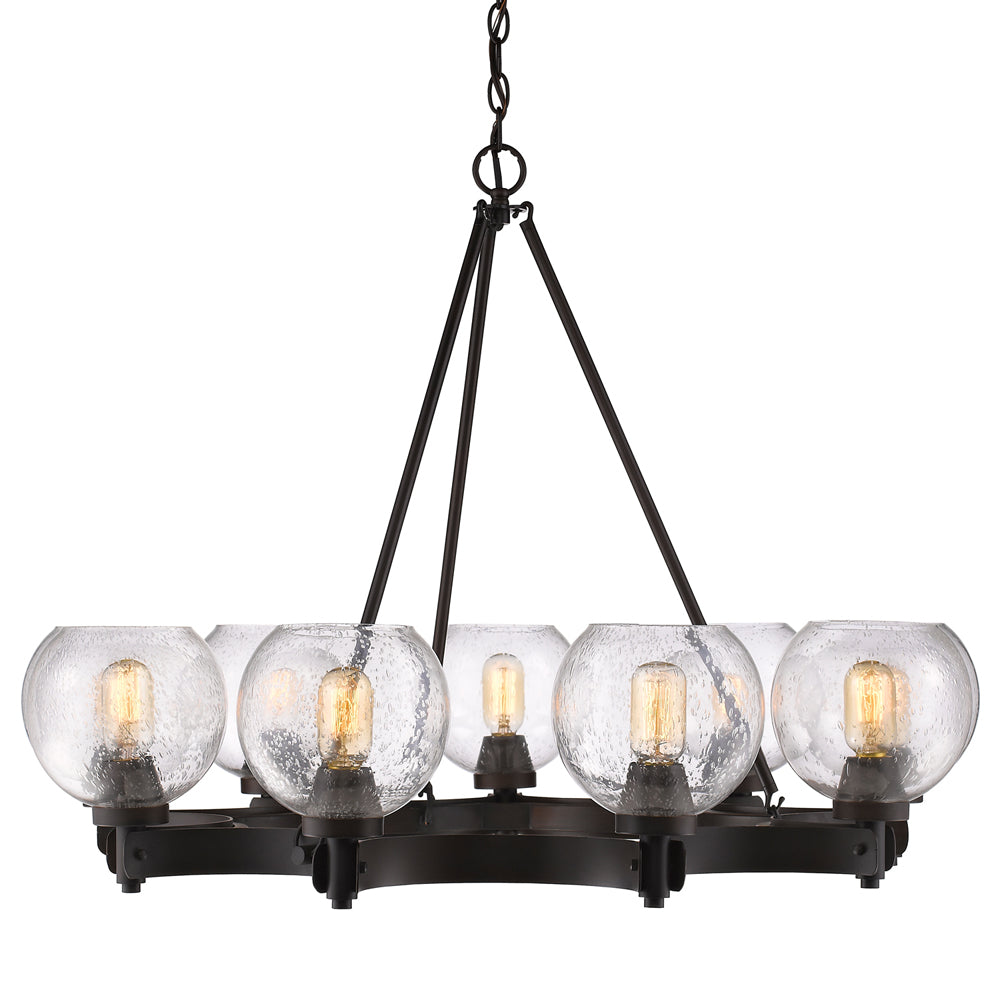 Galveston 9 Light Chandelier in Rubbed Bronze with Seeded Glass, Lighting, Laura of Pembroke