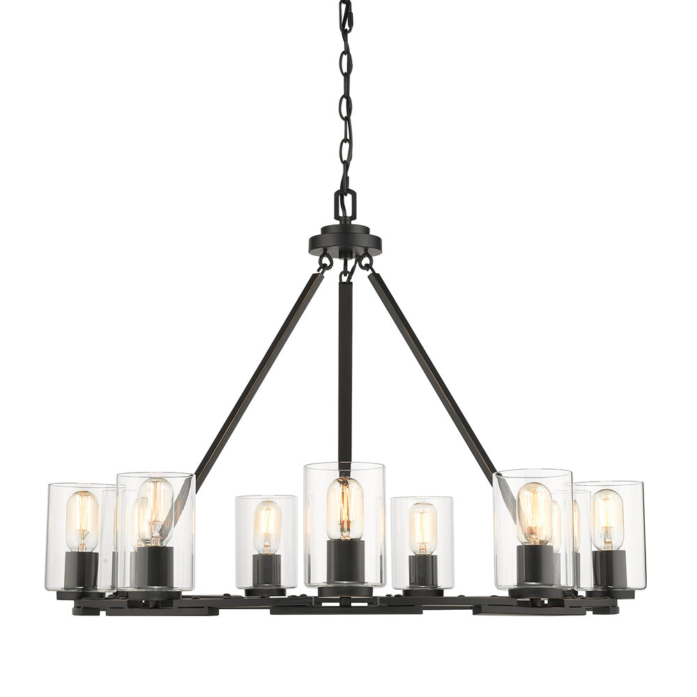 Monroe 9 Light Chandelier in Black with Clear Glass
