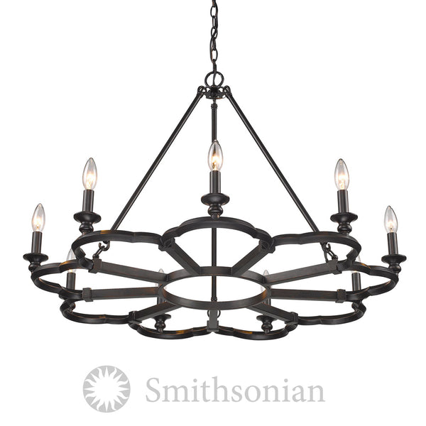Smithsonian Saxon 9 Light Chandelier in Aged Bronze
