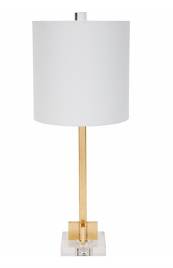 ABITA GOLD LEAF LAMP WITH WHITE LINEN SHADE & CRYSTAL BASE