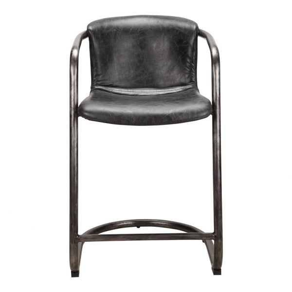 Antique Black Leather and Iron Counter Stool