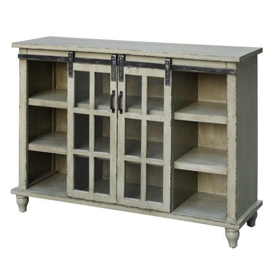 Antique Grey Sliding 2 Door Console