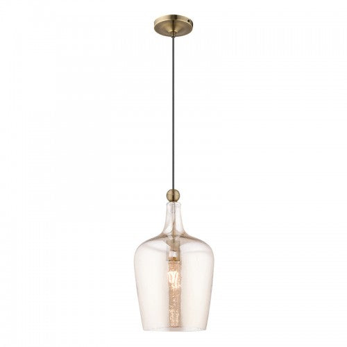 Art Glass Mini Pendants 1 Light Antique Brass Mini Pendant, Lighting, Laura of Pembroke