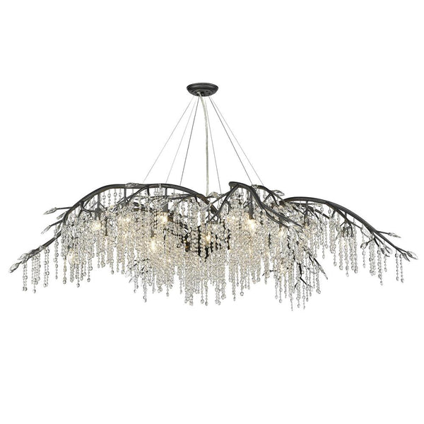 Autumn Twilight 24 Light Chandelier-Black Iron