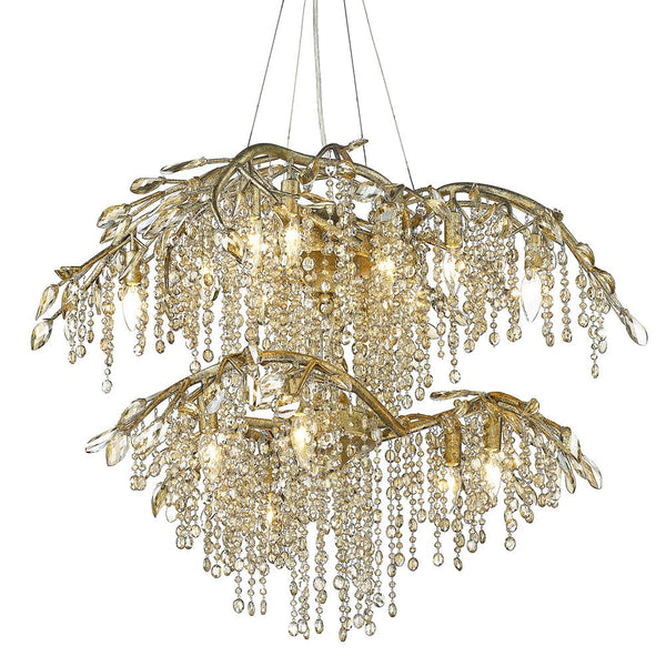 Autumn Twilight 2 Tier - 18 Light Chandelier-Mystic Gold
