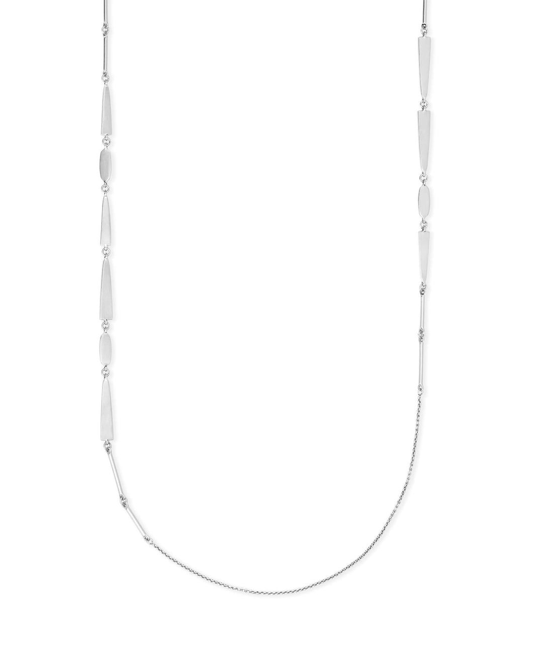 Averil Long Necklace In Bright Silver
