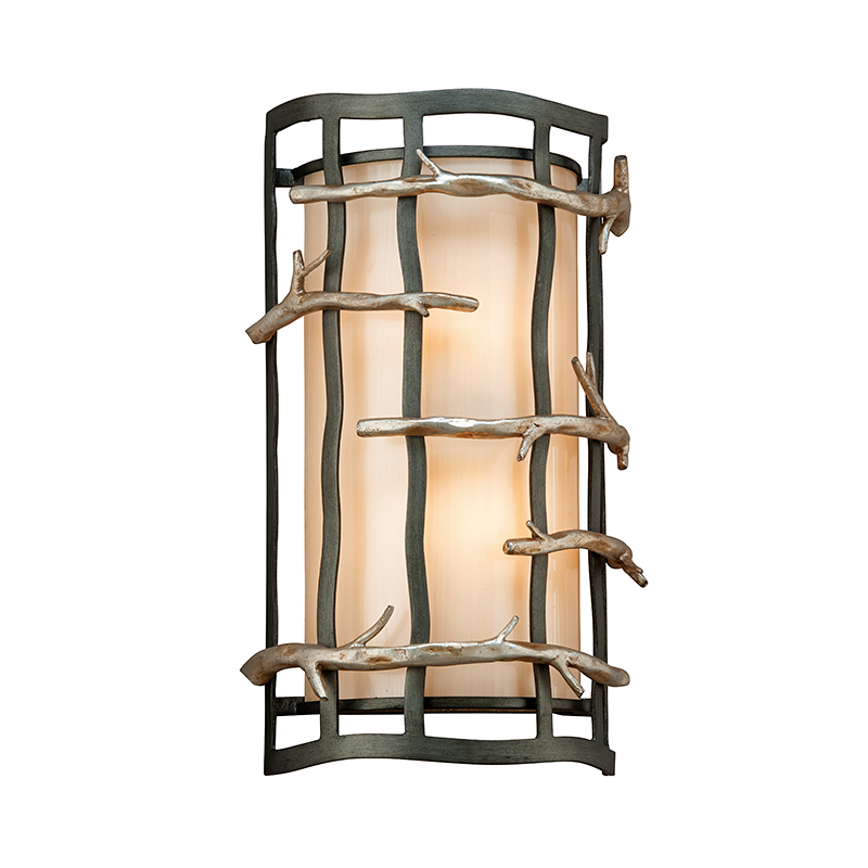 Graphite & Silver Leaf Branch 2 Light Wall Sconce
