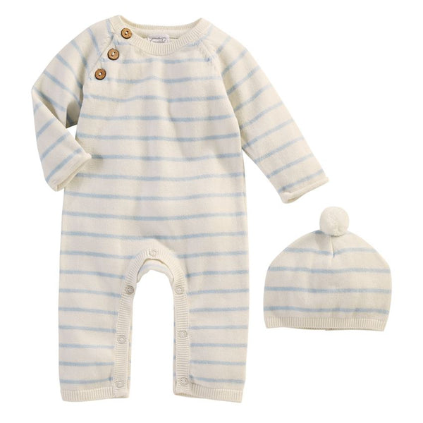 BLUE & IVORY STRIPE KNITTED GIFT SET