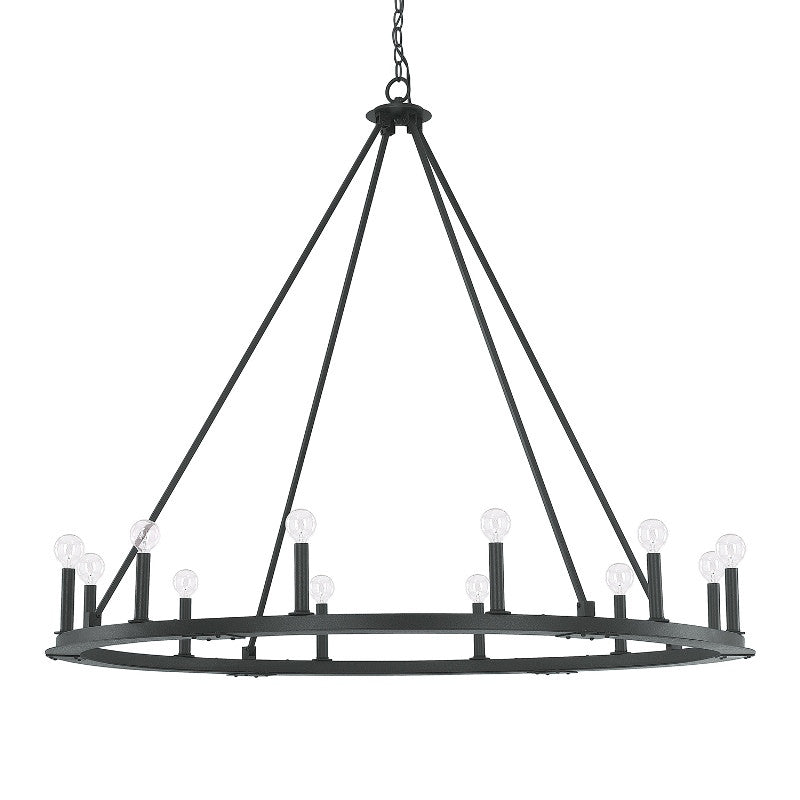 Black Iron 12 Light Chandelier, Lighting, Laura of Pembroke