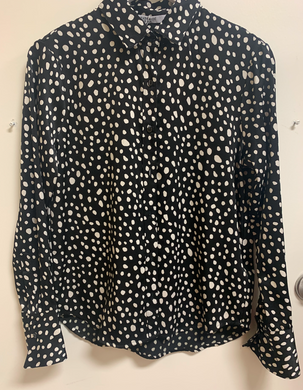 Black and Cream Polka Dot Button Up