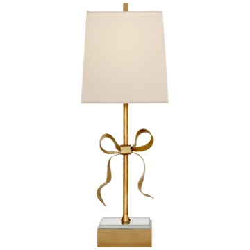 Bow Table Lamp in Soft Brass and Mirror with Cream Linen Shade