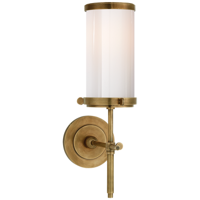 Bryant Bath Sconce in Hand-Rubbed Antique Brass with White Glass