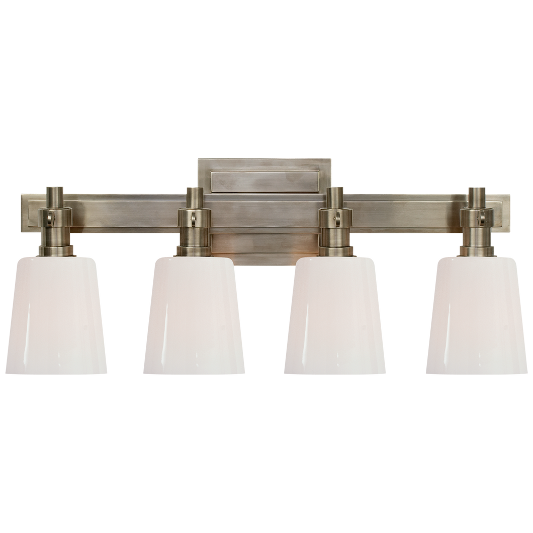 Bryant Four-Light Bath Sconce in Antique Nickel with White Glass