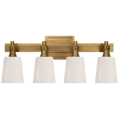 Bryant Four-Light Bath Sconce in Hand-Rubbed Antique Brass with White Glass