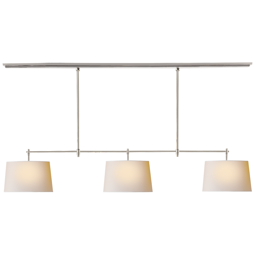 Bryant Large Billiard in Polished Nickel with Natural Paper Shades