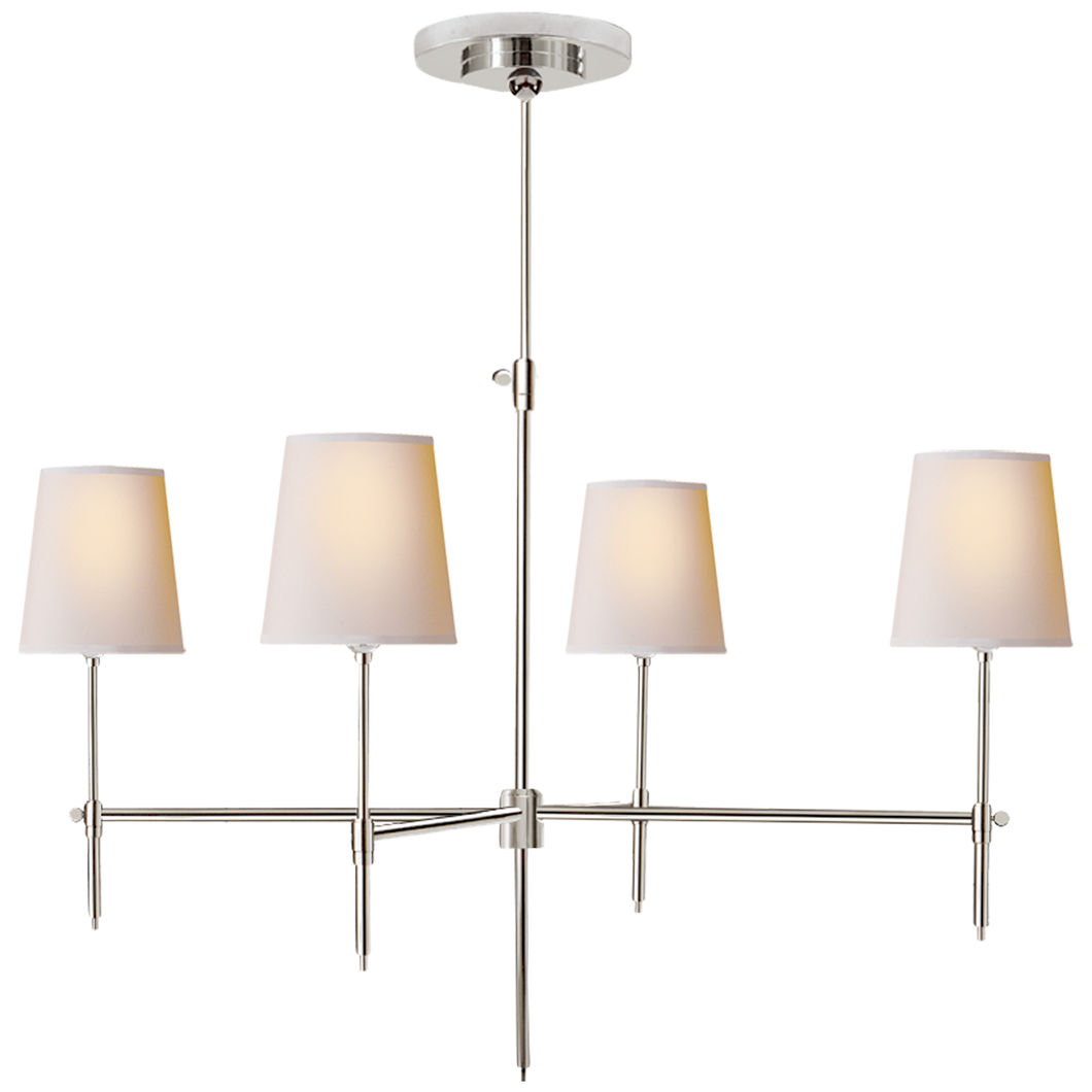 Bryant Large Chandelier in Polished Nickel with Natural Paper Shades