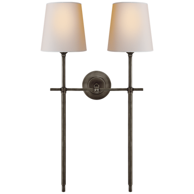 Bryant Large Double Tail Sconce in Bronze with Natural Paper Shades