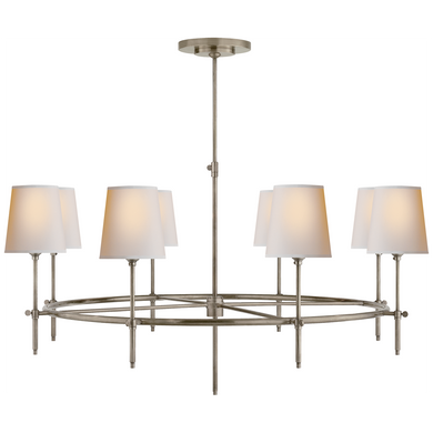 Bryant Large Ring Chandelier in Antique Nickel with Natural Paper Shades