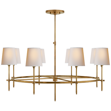 Bryant Large Ring Chandelier in Hand-Rubbed Antique Brass with Natural Paper Shades