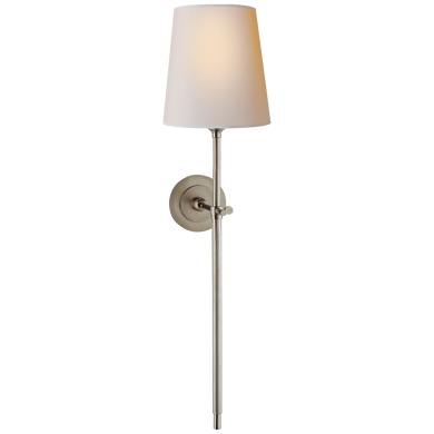 Bryant Large Tail Sconce in Antique Nickel with Natural Paper Shade