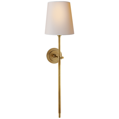 Bryant Large Tail Sconce in Hand-Rubbed Antique Brass with Natural Paper Shade