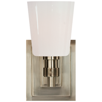 Bryant Single Bath Sconce in Antique Nickel with White Glass