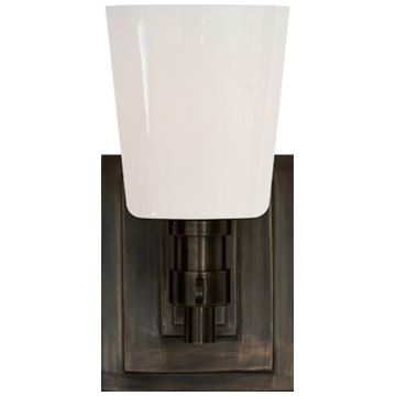 Bryant Single Bath Sconce in Bronze with White Glass