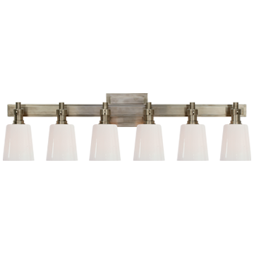 Bryant Six-Light Linear Bath Sconce in Antique Nickel with White Glass