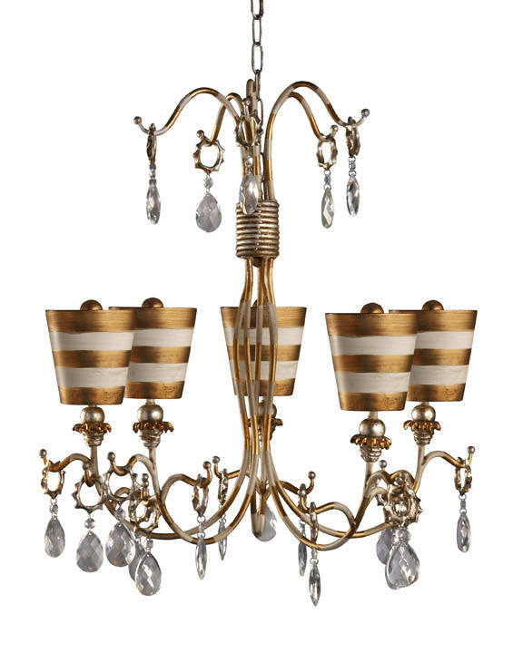Gold 5 Arm Chandelier, Lighting, Laura of Pembroke