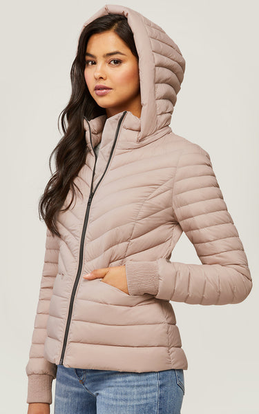 Chalee lightweight down jacket with removable hood