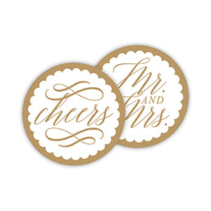 'Cheers Mr & Mrs' Paper Coasters