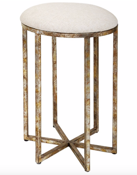 COUNTER HEIGHT BAR STOOL WITH LINEN CUSHION