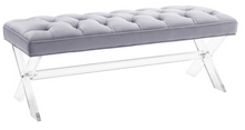 Grey Tufted Lucite Bench