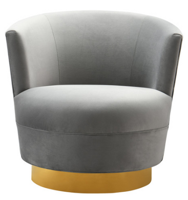 Grey Swivel Chair with Gold Base