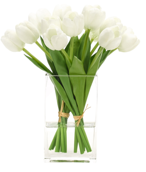 Tulips In Glass Vase