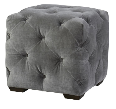 Grey Tufted Square Ottoman