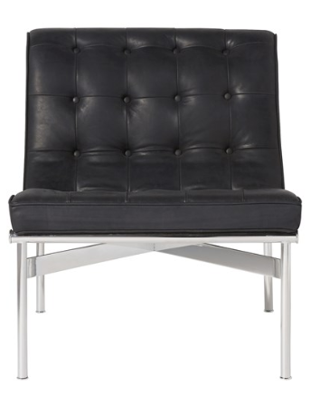 Curved Black Tufted Chair