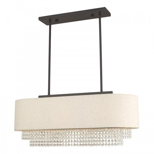 Carlisle 3 Light English Bronze Linear Chandelier, Lighting, Laura of Pembroke