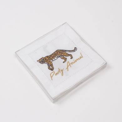 Cheetah Embroidered Cocktail Napkins