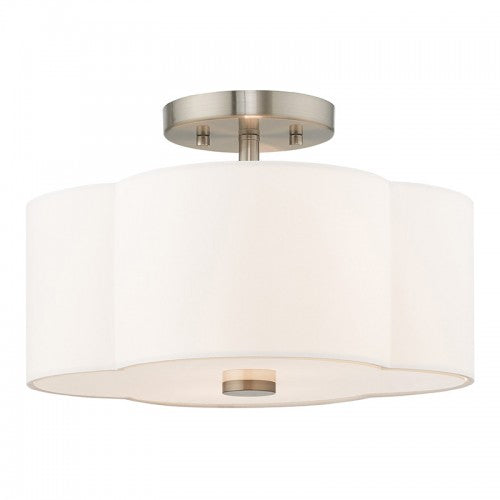 Chelsea 3 Light Brushed Nickel Ceiling Mount, Lighting, Laura of Pembroke