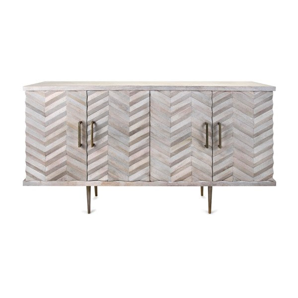 Chevron White Mango Wood Buffet