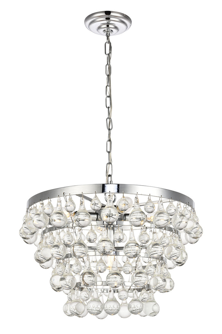 Chrome and Teardrop Crystal 5 Light Pendant, Lighting, Laura of Pembroke